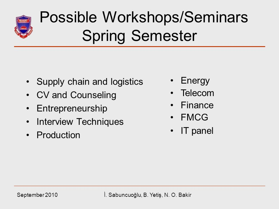 Possible Workshops/Seminars Spring Semester