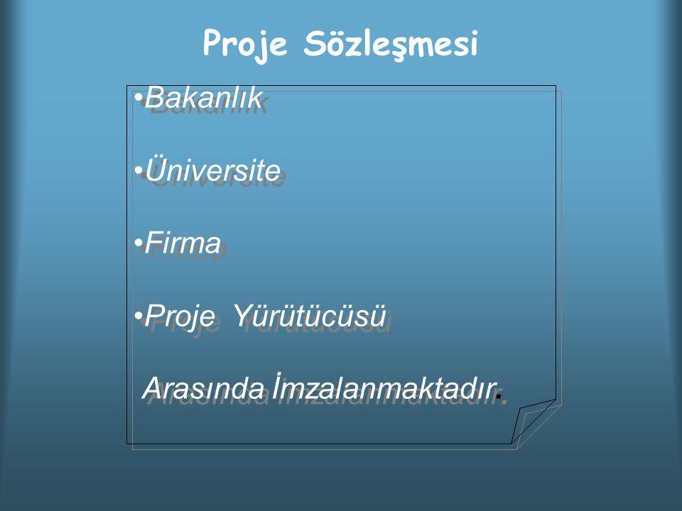 Proje Sözleşmesi Bakanlık Üniversite Firma Proje Yürütücüsü