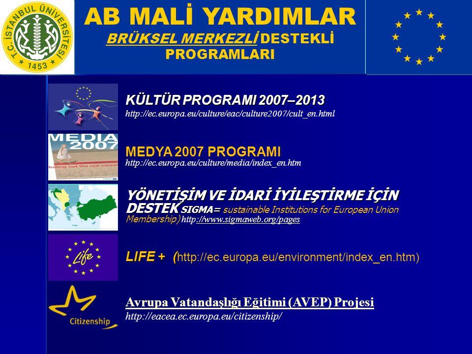 BRÜKSEL MERKEZLİ DESTEKLİ PROGRAMLARI