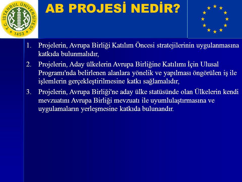 AB PROJESİ NEDİR Projelerin, Avrupa Birliği Katılım Öncesi stratejilerinin uygulanmasına katkıda bulunmalıdır,