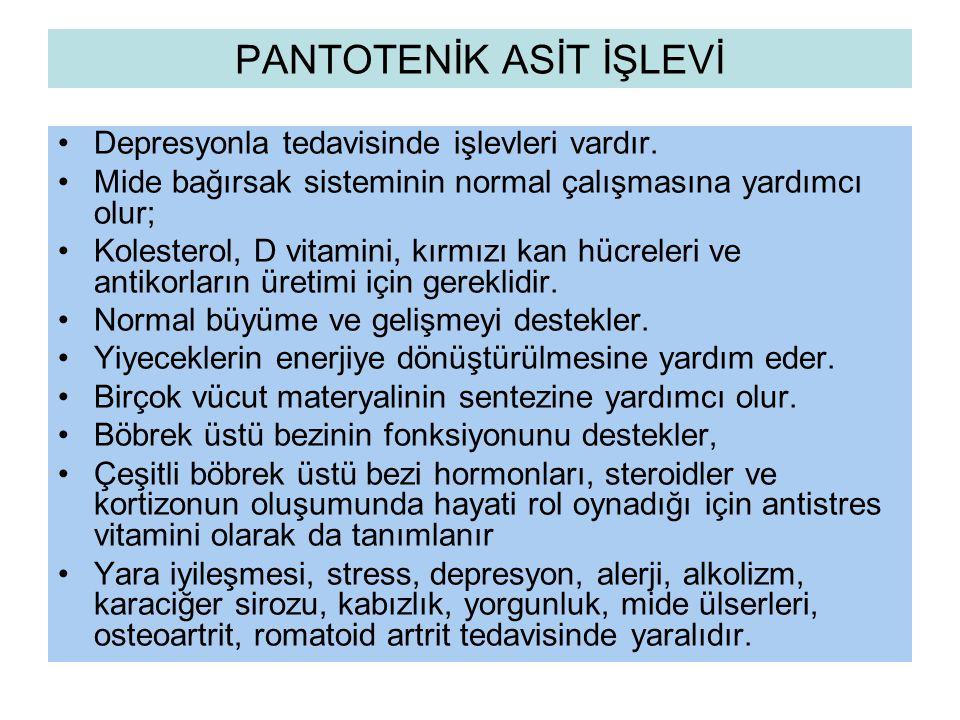 PANTOTENİK ASİT İŞLEVİ
