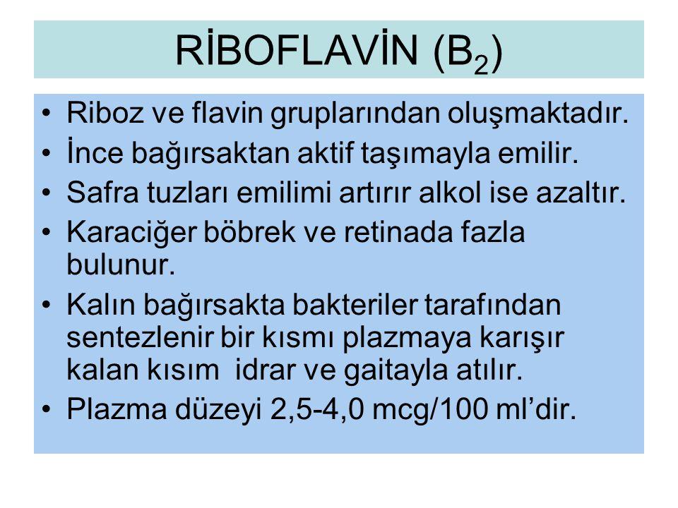RİBOFLAVİN (B2) Riboz ve flavin gruplarından oluşmaktadır.