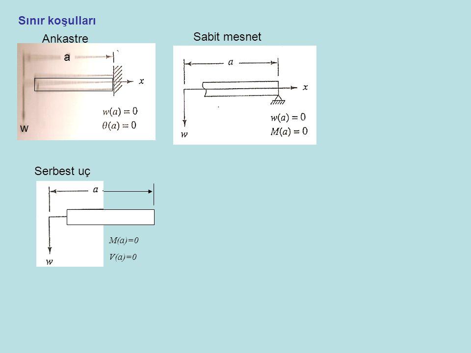 Sınır koşulları Ankastre Sabit mesnet w a Serbest uç M(a)=0 V(a)=0