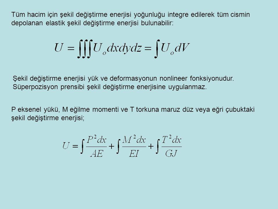 Tüm hacim için şekil değiştirme enerjisi yoğunluğu integre edilerek tüm cismin depolanan elastik şekil değiştirme enerjisi bulunabilir: