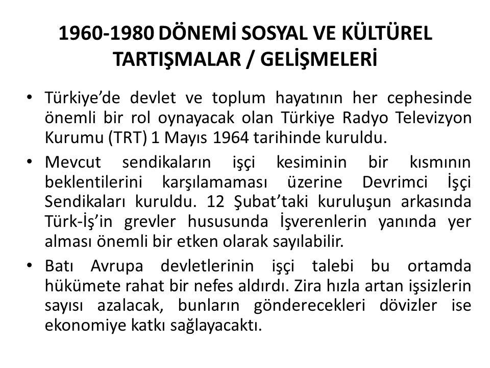 1960-1980 DÖNEMİ SOSYAL VE KÜLTÜREL TARTIŞMALAR / GELİŞMELERİ