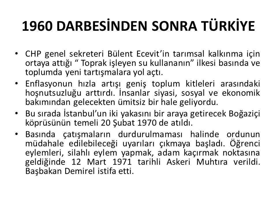 1960 DARBESİNDEN SONRA TÜRKİYE