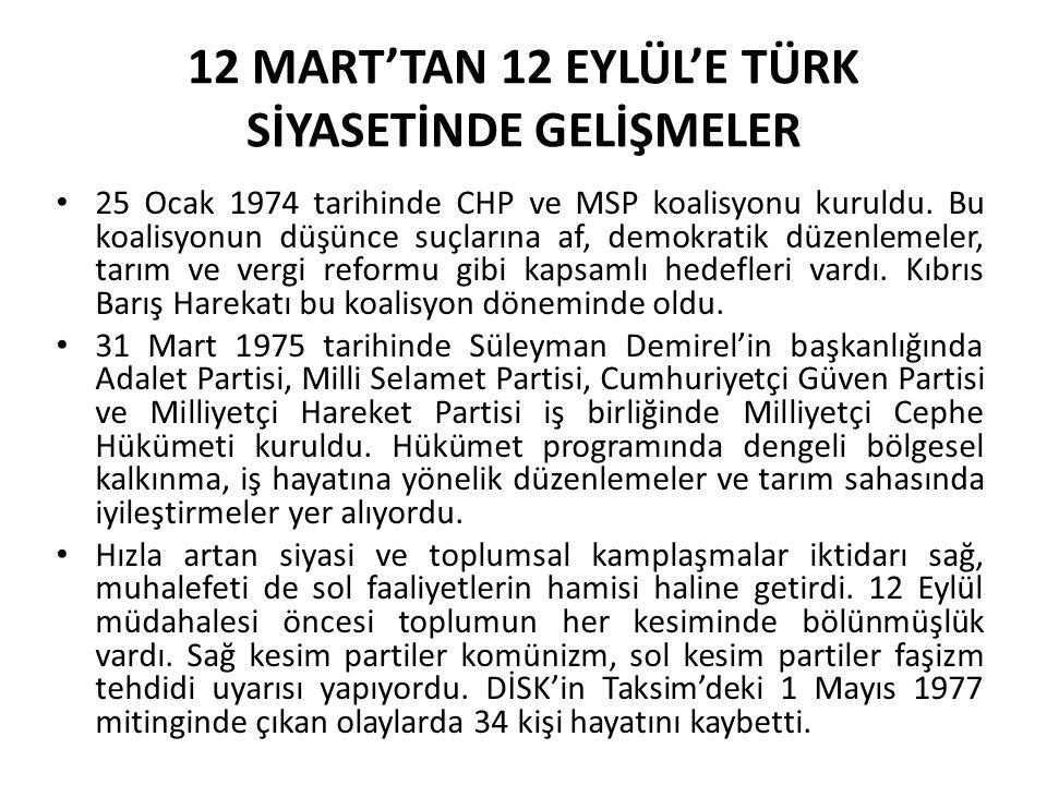 12 MART'TAN 12 EYLÜL'E TÜRK SİYASETİNDE GELİŞMELER