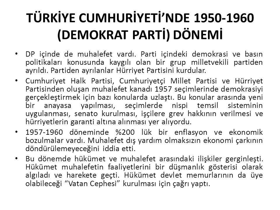 TÜRKİYE CUMHURİYETİ'NDE 1950-1960 (DEMOKRAT PARTİ) DÖNEMİ