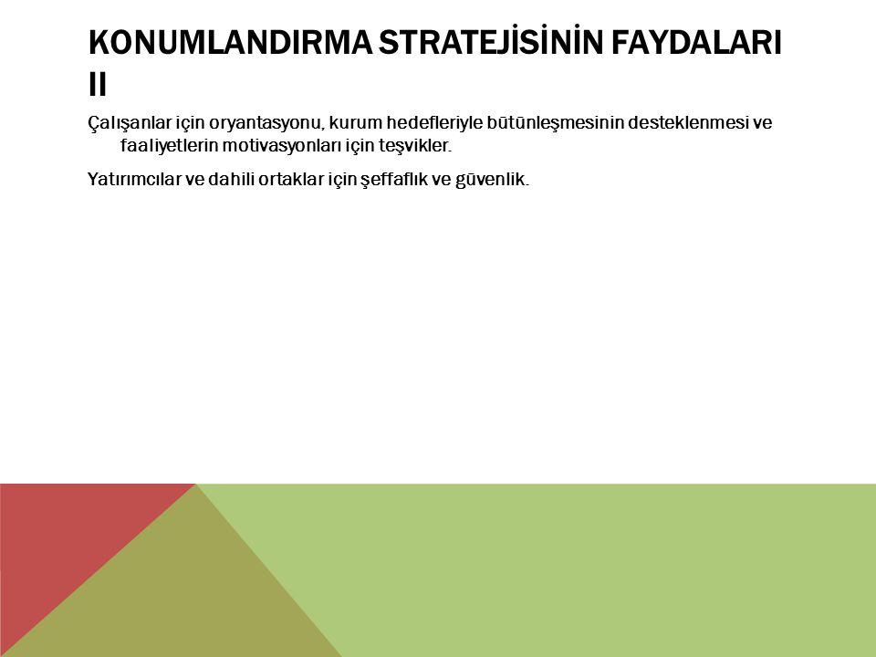KONUMLANDIRMA STRATEJİSİNİN FAYDALARI II
