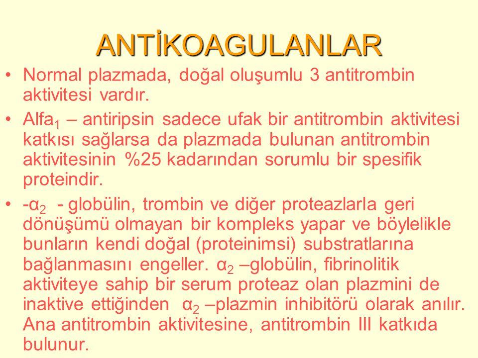 ANTİKOAGULANLAR Normal plazmada, doğal oluşumlu 3 antitrombin aktivitesi vardır.