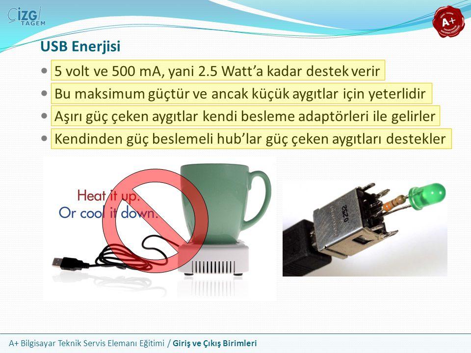 USB Enerjisi 5 volt ve 500 mA, yani 2.5 Watt'a kadar destek verir