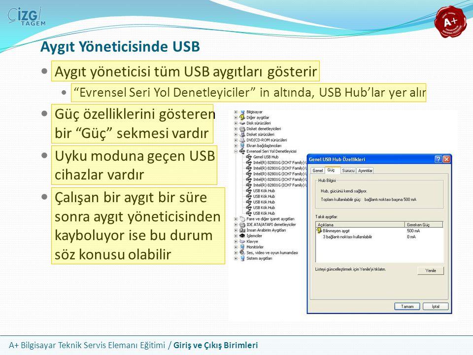 Aygıt Yöneticisinde USB