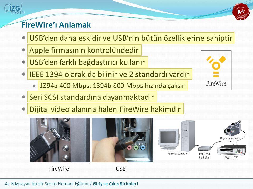 FireWire'ı Anlamak USB'den daha eskidir ve USB'nin bütün özelliklerine sahiptir. Apple firmasının kontrolündedir.