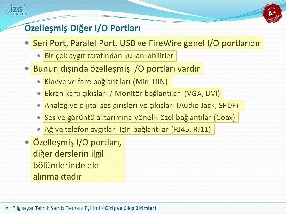 Özelleşmiş Diğer I/O Portları