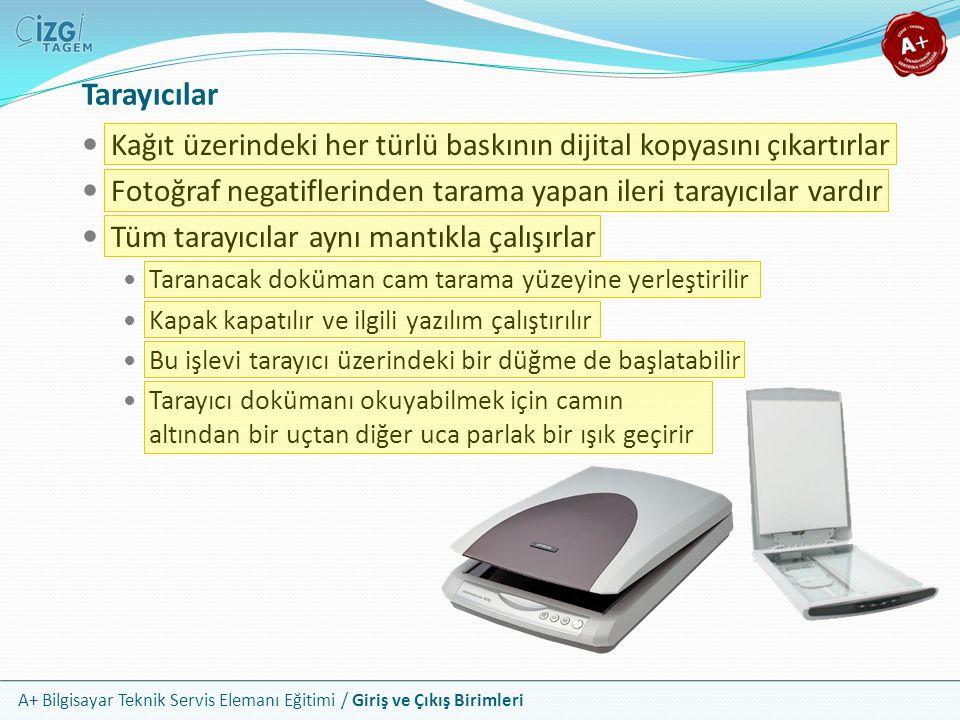 Tarayıcılar Kağıt üzerindeki her türlü baskının dijital kopyasını çıkartırlar. Fotoğraf negatiflerinden tarama yapan ileri tarayıcılar vardır.