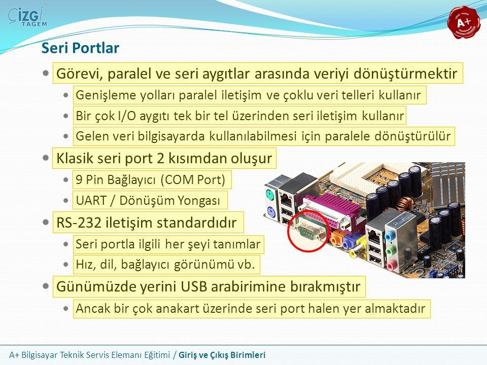 Seri Portlar Görevi, paralel ve seri aygıtlar arasında veriyi dönüştürmektir. Genişleme yolları paralel iletişim ve çoklu veri telleri kullanır.