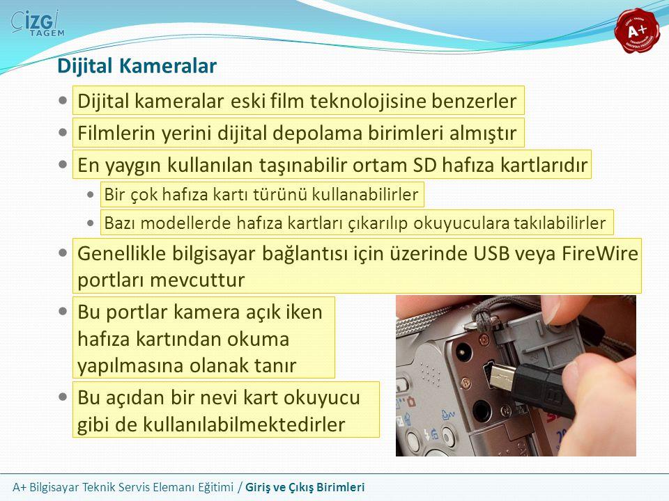 Dijital Kameralar Dijital kameralar eski film teknolojisine benzerler