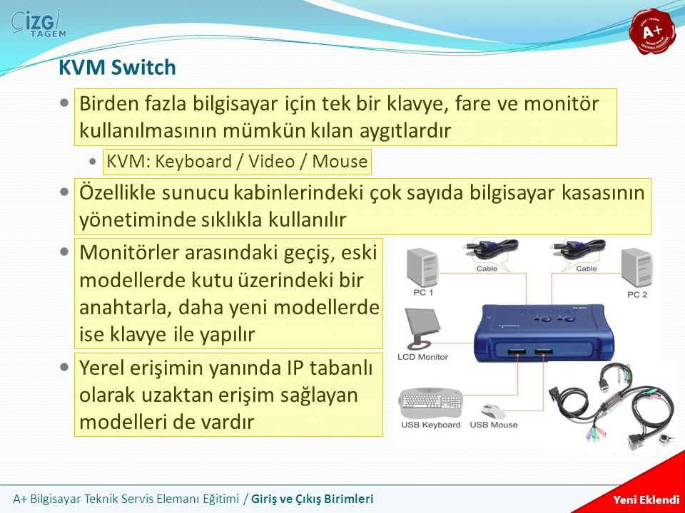KVM Switch Birden fazla bilgisayar için tek bir klavye, fare ve monitör kullanılmasının mümkün kılan aygıtlardır.
