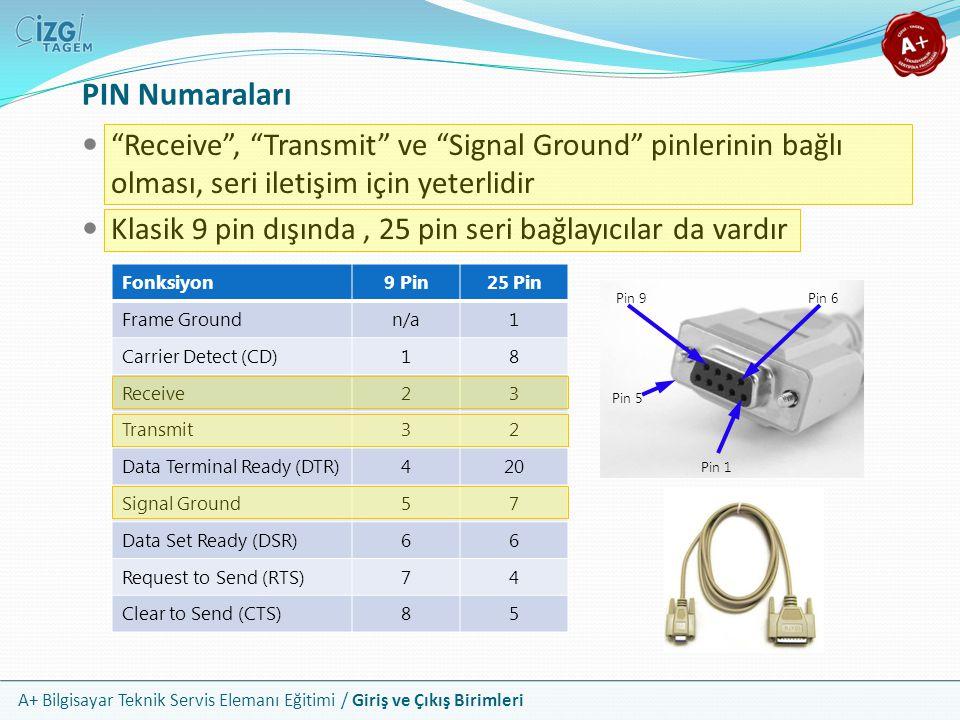 PIN Numaraları Receive , Transmit ve Signal Ground pinlerinin bağlı olması, seri iletişim için yeterlidir.