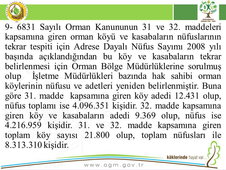 9- 6831 Sayılı Orman Kanununun 31 ve 32
