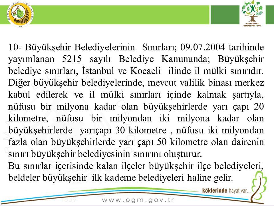 10- Büyükşehir Belediyelerinin Sınırları; 09. 07