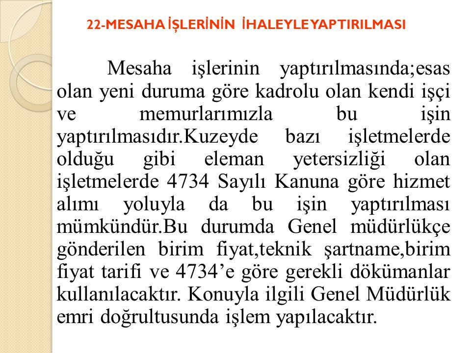 22-MESAHA İŞLERİNİN İHALEYLE YAPTIRILMASI