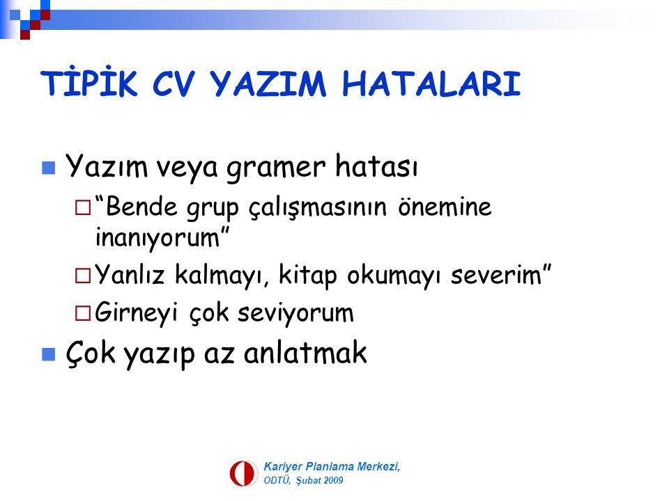 TİPİK CV YAZIM HATALARI