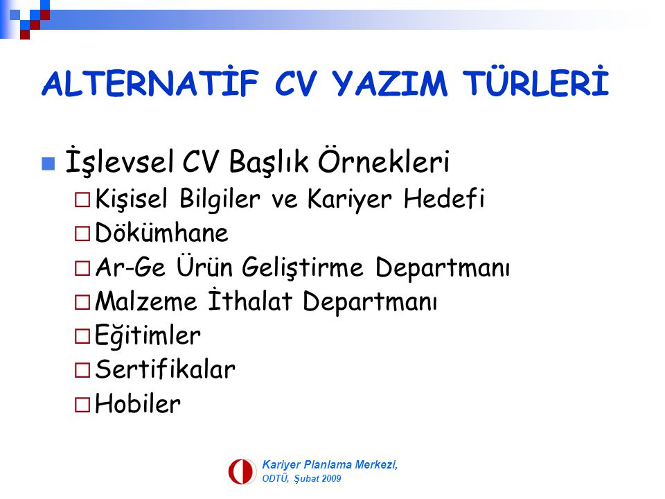 ALTERNATİF CV YAZIM TÜRLERİ