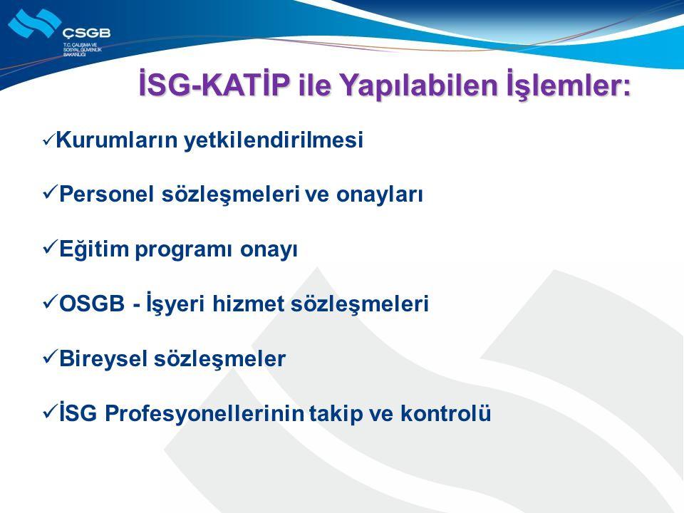 İSG-KATİP ile Yapılabilen İşlemler: