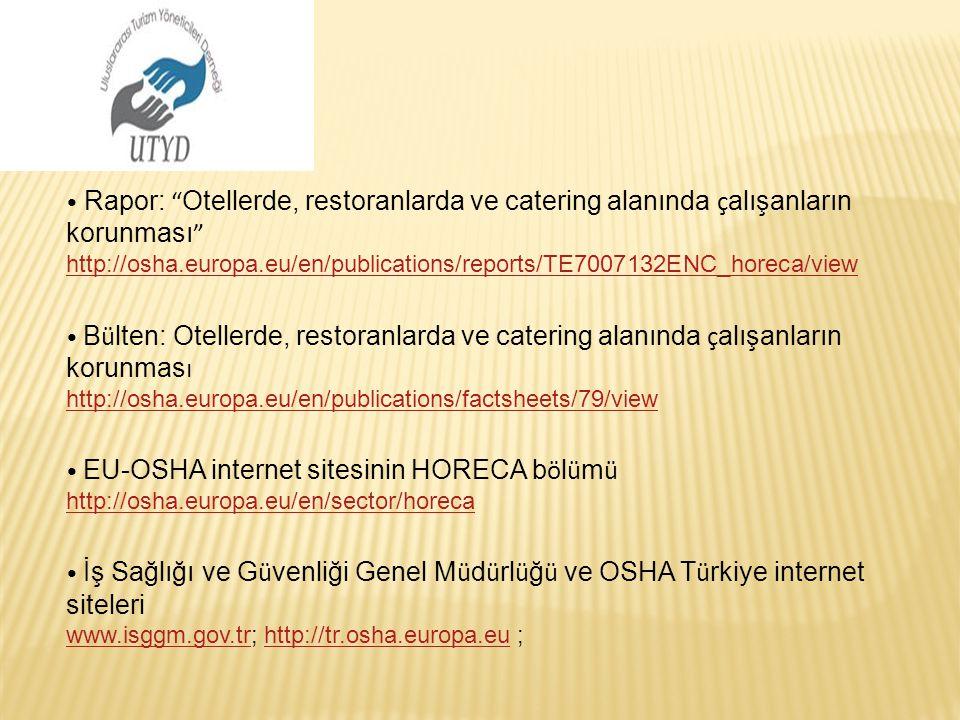 • Rapor: Otellerde, restoranlarda ve catering alanında çalışanların korunması http://osha.europa.eu/en/publications/reports/TE7007132ENC_horeca/view