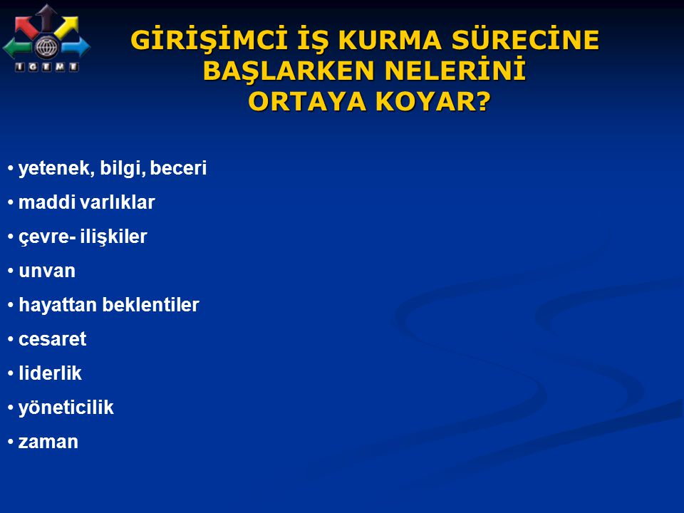 GİRİŞİMCİ İŞ KURMA SÜRECİNE