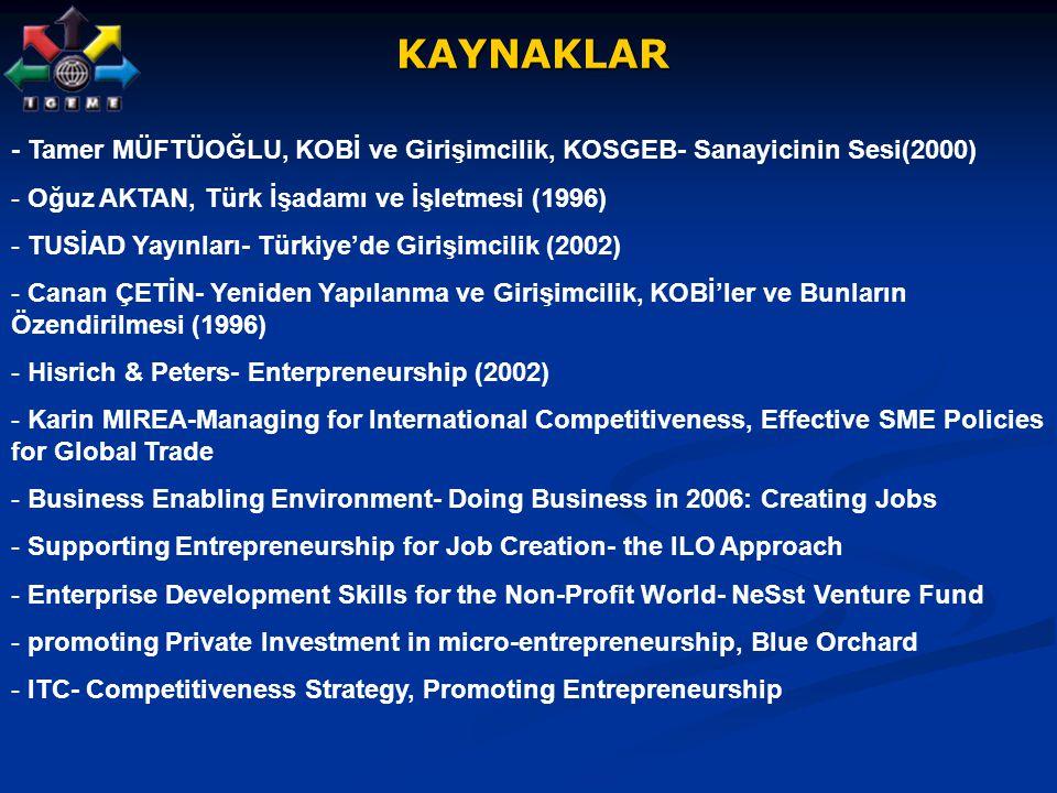 KAYNAKLAR - Tamer MÜFTÜOĞLU, KOBİ ve Girişimcilik, KOSGEB- Sanayicinin Sesi(2000) Oğuz AKTAN, Türk İşadamı ve İşletmesi (1996)