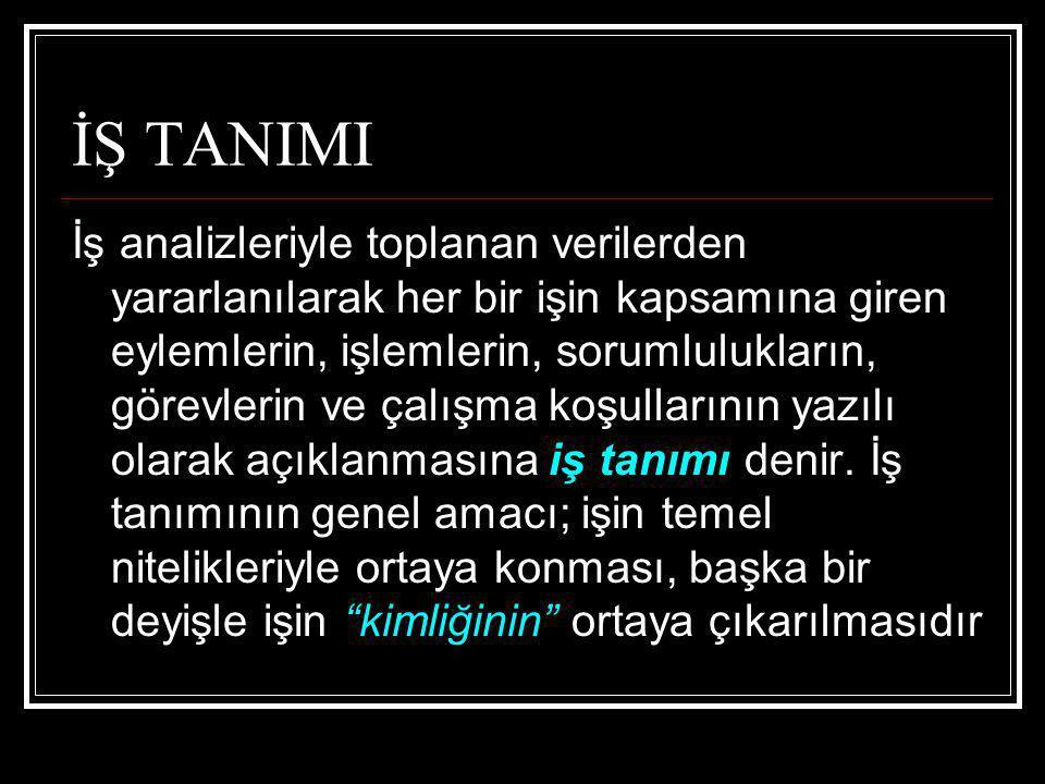 İŞ TANIMI