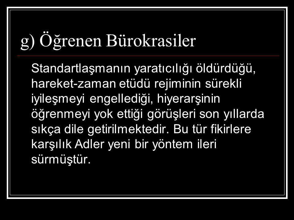 g) Öğrenen Bürokrasiler