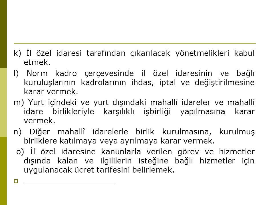 k) İl özel idaresi tarafından çıkarılacak yönetmelikleri kabul etmek.