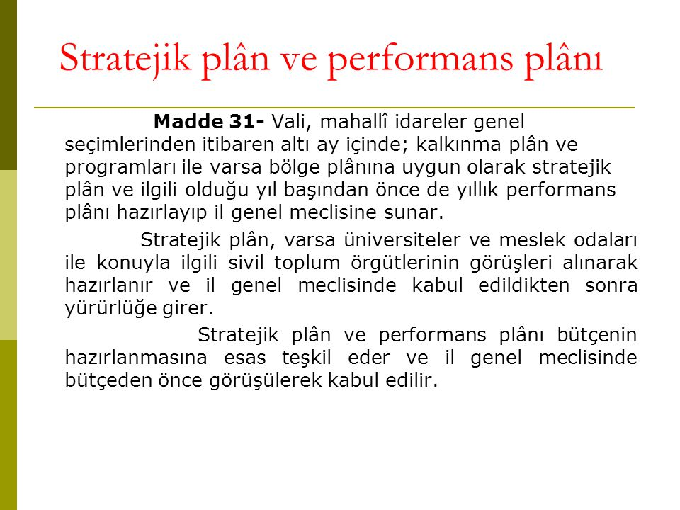 Stratejik plân ve performans plânı