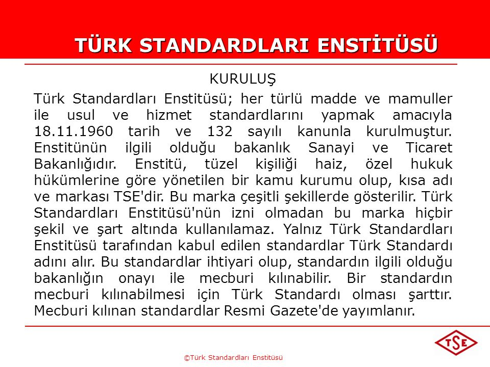TÜRK STANDARDLARI ENSTİTÜSÜ