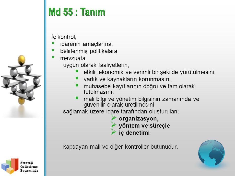 Md 55 : Tanım İç kontrol; idarenin amaçlarına,