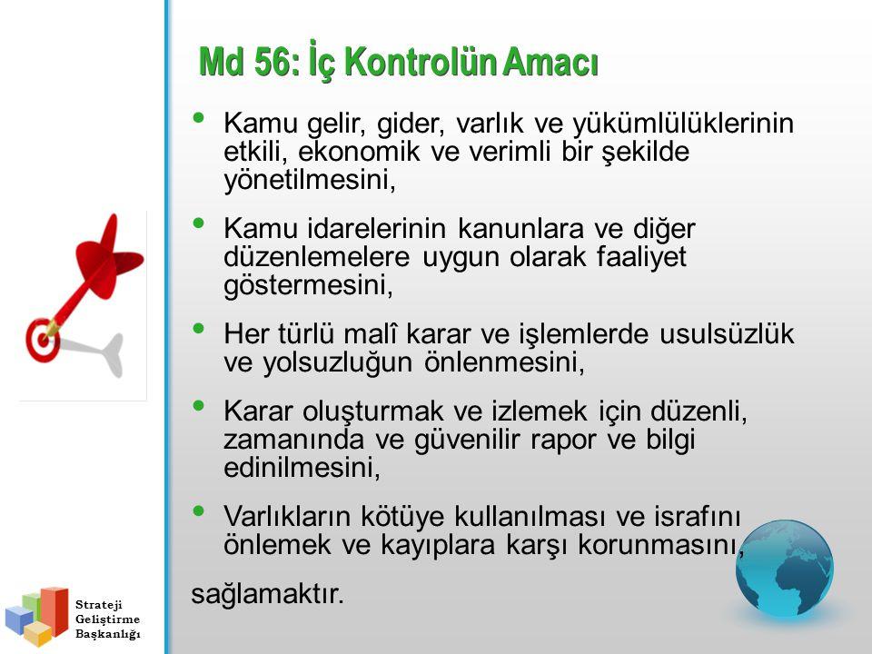 Md 56: İç Kontrolün Amacı Kamu gelir, gider, varlık ve yükümlülüklerinin etkili, ekonomik ve verimli bir şekilde yönetilmesini,
