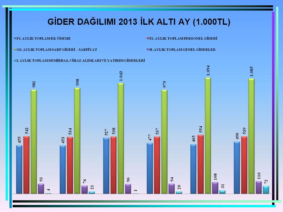 GİDER DAĞILIMI 2013 İLK ALTI AY (1.000TL)