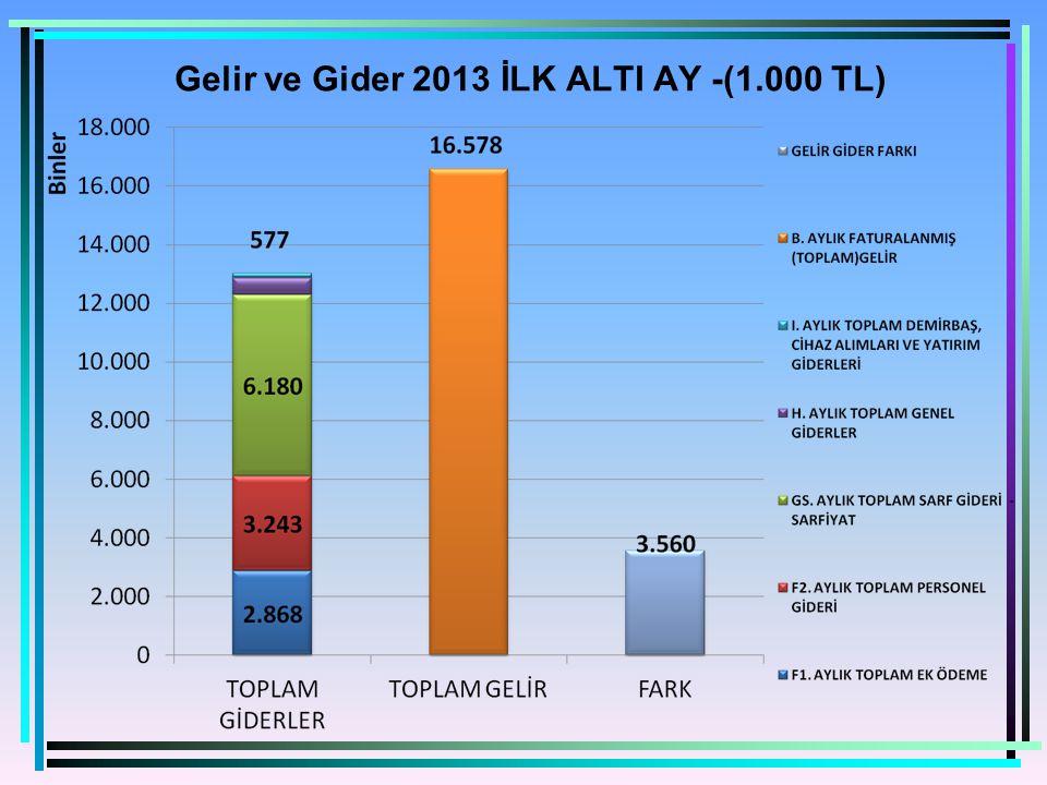 Gelir ve Gider 2013 İLK ALTI AY -(1.000 TL)