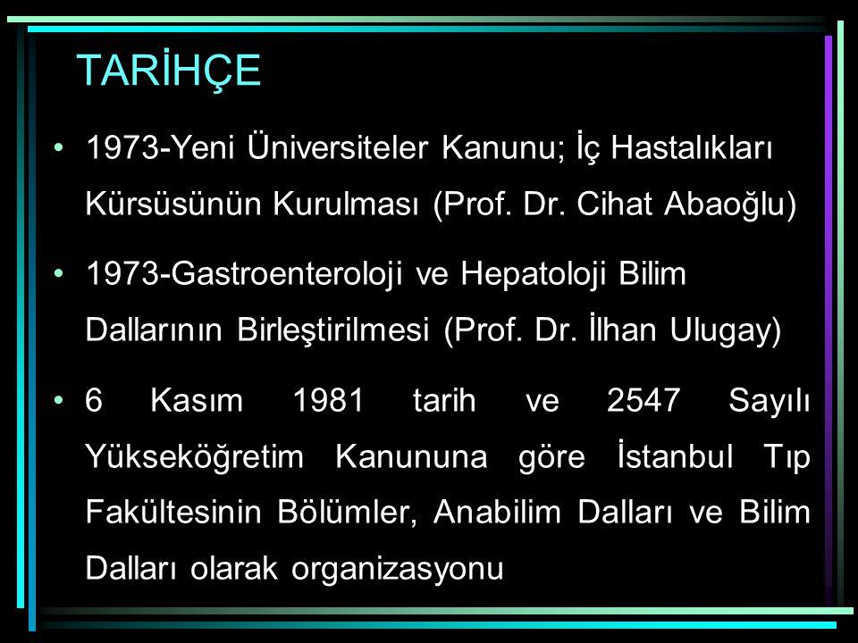 TARİHÇE 1973-Yeni Üniversiteler Kanunu; İç Hastalıkları Kürsüsünün Kurulması (Prof. Dr. Cihat Abaoğlu)