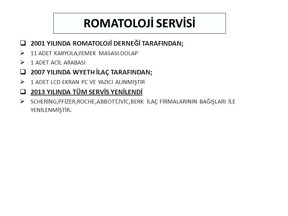 ROMATOLOJİ SERVİSİ 2001 YILINDA ROMATOLOJİ DERNEĞİ TARAFINDAN;