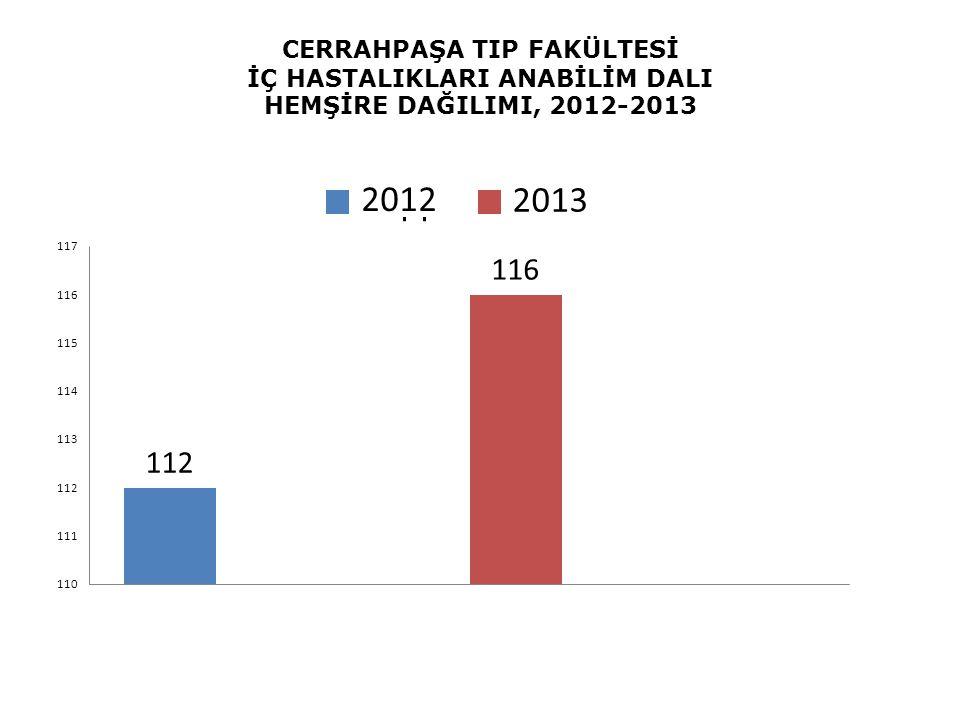 CERRAHPAŞA TIP FAKÜLTESİ İÇ HASTALIKLARI ANABİLİM DALI HEMŞİRE DAĞILIMI, 2012-2013