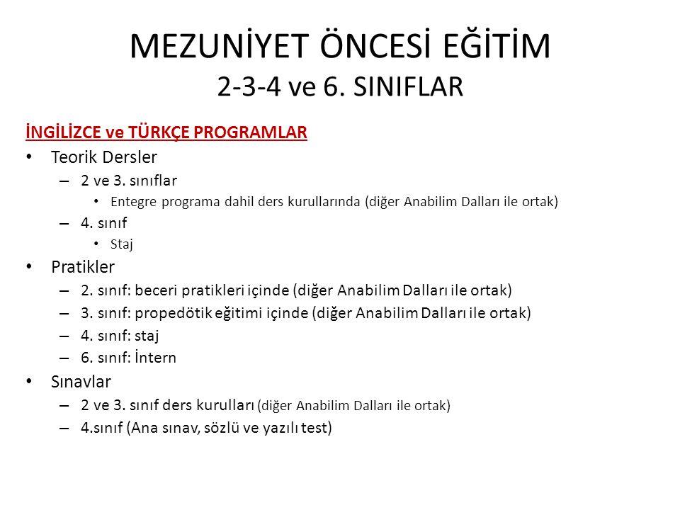 MEZUNİYET ÖNCESİ EĞİTİM 2-3-4 ve 6. SINIFLAR
