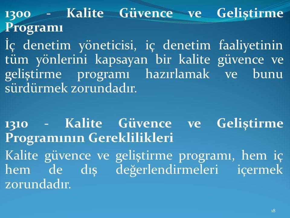 1300 - Kalite Güvence ve Geliştirme Programı