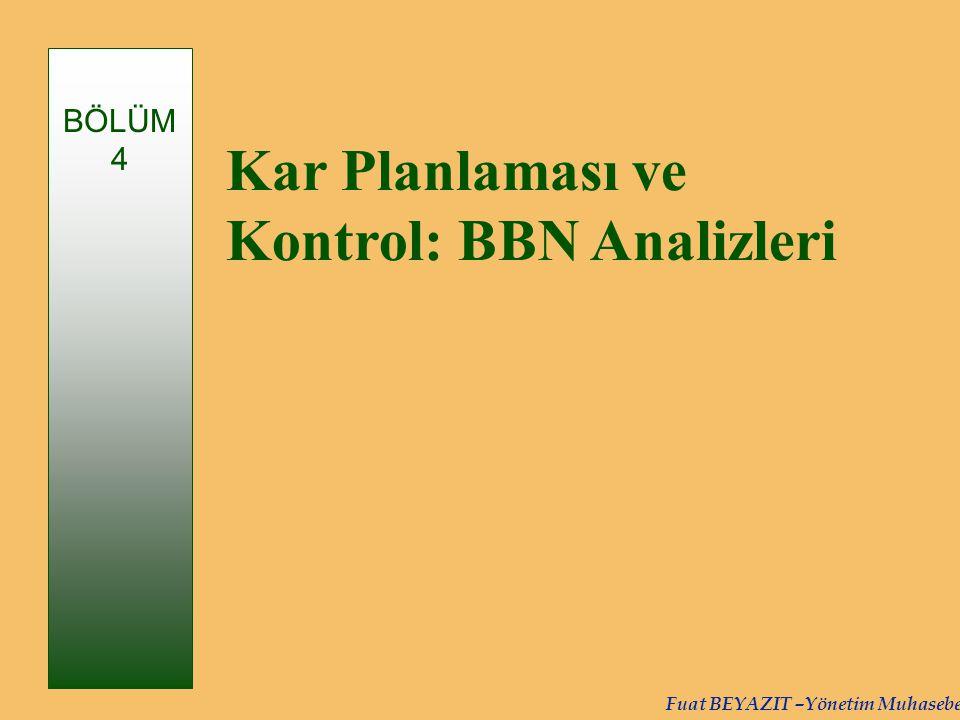 Kar Planlaması ve Kontrol: BBN Analizleri