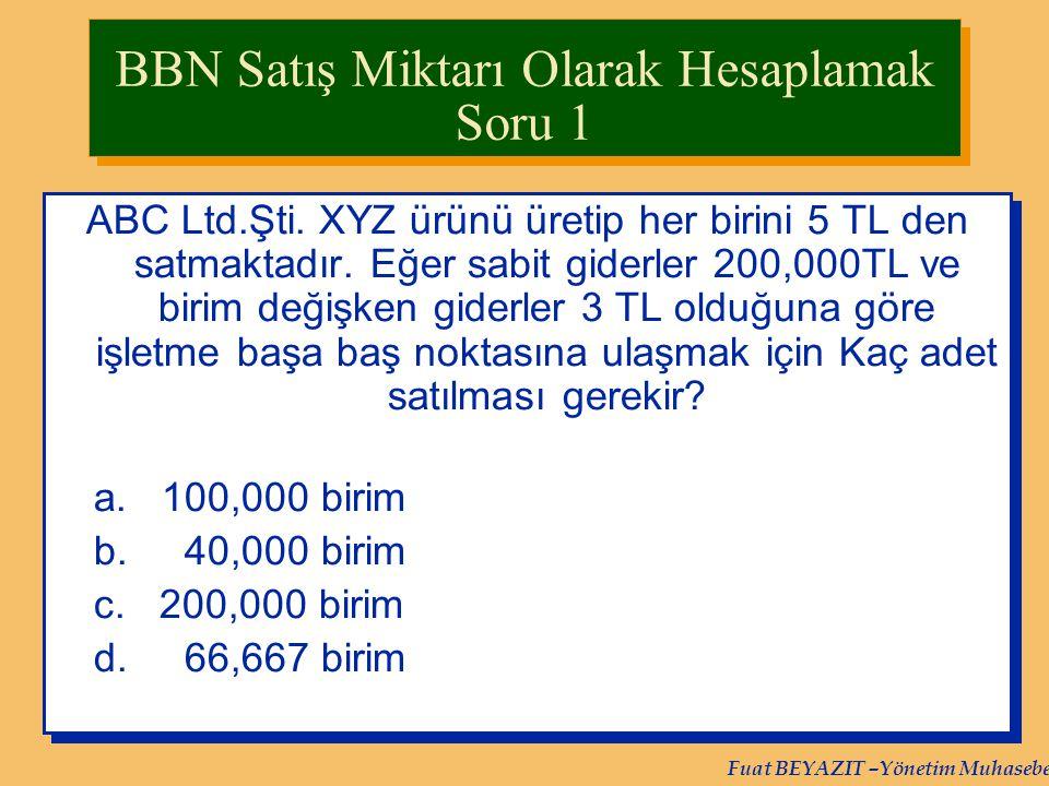 BBN Satış Miktarı Olarak Hesaplamak Soru 1
