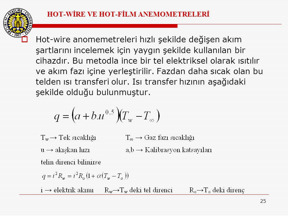 HOT-WİRE VE HOT-FİLM ANEMOMETRELERİ
