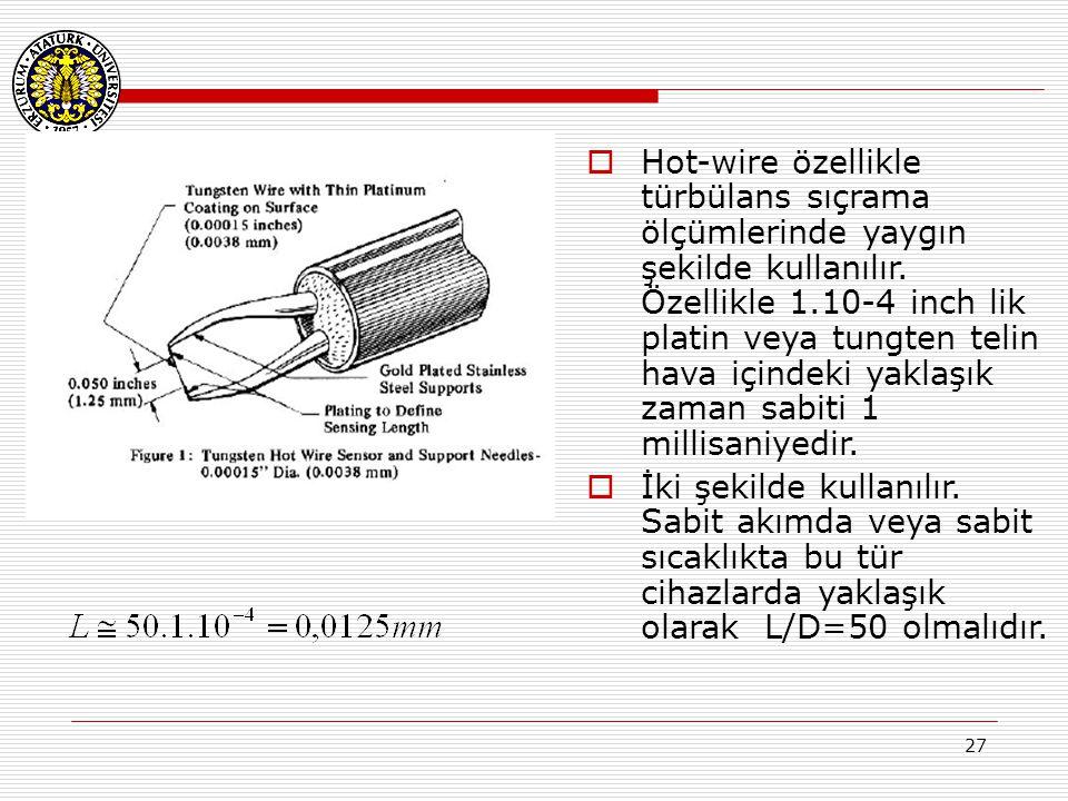 Hot-wire özellikle türbülans sıçrama ölçümlerinde yaygın şekilde kullanılır. Özellikle 1.10-4 inch lik platin veya tungten telin hava içindeki yaklaşık zaman sabiti 1 millisaniyedir.